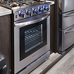 "Free-standing four burner 24"" gas range May Show Optional Features. Features and Options Subject to Change Without Notice."
