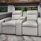 Optional 12V power theater seating with adjustable foot rests May Show Optional Features. Features and Options Subject to Change Without Notice.
