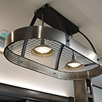 Pot and pan rack style lighting in kitchen May Show Optional Features. Features and Options Subject to Change Without Notice.