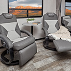 Spacious First-Class recliner seating with easy clean soft touch vinyl. (Select Models) May Show Optional Features. Features and Options Subject to Change Without Notice.