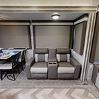 One of the 40RLB back slides includes an awesome sofa, featuring the upgraded designer sofa, and a standard residential dinette May Show Optional Features. Features and Options Subject to Change Without Notice.