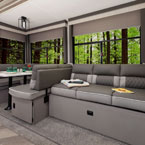 The Versa-Lounge has the capability to be put into the traditional U-dinette and sofa May Show Optional Features. Features and Options Subject to Change Without Notice.
