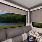 Lodge and Grand Lodge include modern cloth black out roller shades May Show Optional Features. Features and Options Subject to Change Without Notice.