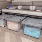 This photo displays the Stow N Go Storage below the sofa and dry food approved storage bins included inside. May Show Optional Features. Features and Options Subject to Change Without Notice.