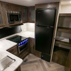 The 27RK kitchen has an 11 CU FT Frost Free refrigerator and pantry. May Show Optional Features. Features and Options Subject to Change Without Notice.