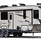 Flagstaff Classic Fifth Wheel Exterior (Standard Champagne Fiberglass) May Show Optional Features. Features and Options Subject to Change Without Notice.
