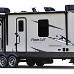 Flagstaff Classic Travel Trailer Exterior (Standard Champagne Fiberglass) May Show Optional Features. Features and Options Subject to Change Without Notice.